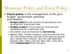 monetary policy and fiscal policy1