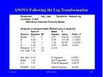anova following the log transformation