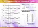 walsh functions and hadamard matrix