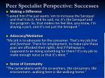 peer specialist perspective successes
