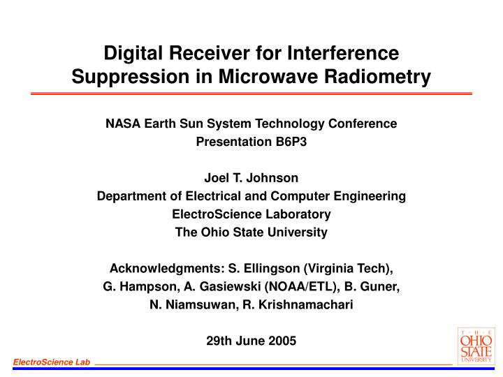 digital receiver for interference suppression in microwave radiometry n.