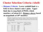 cluster selection criteria abell2