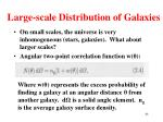 large scale distribution of galaxies1