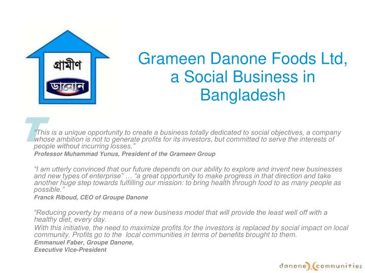 grameen danone foods ltd a social business in bangladesh n.