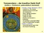 transzendenz der kreative geist gott antike u christentum paternalistisch dominant