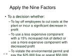 apply the nine factors