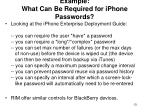 example what can be required for iphone passwords