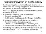 hardware encryption on the blackberry