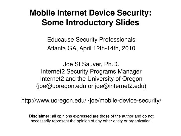 mobile internet device security some introductory slides n.