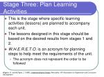 stage three plan learning activities1