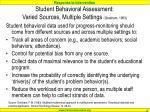 student behavioral assessment varied sources multiple settings gresham 1983