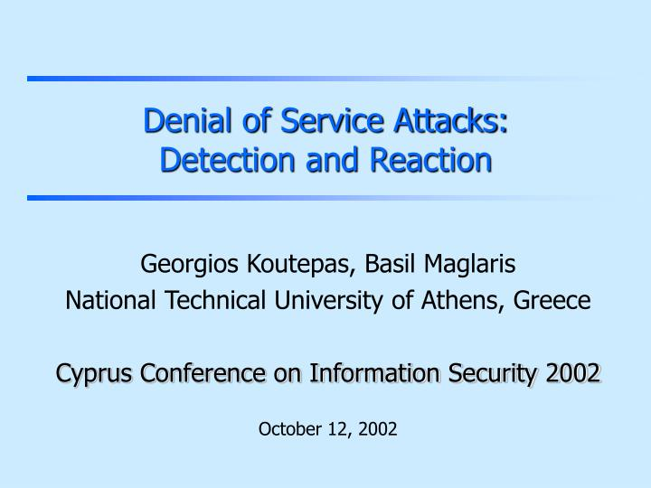 denial of service attacks detection and reaction n.