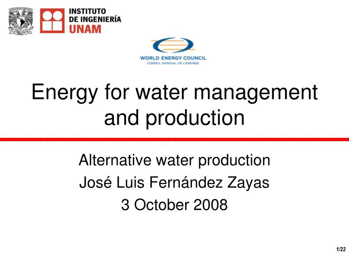 energy for water management and production n.
