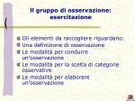 ll gruppo di osservazione esercitazione