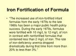 iron fortification of formula