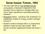 some issues foman 1993