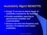 availability mgmt benefits