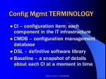 config mgmt terminology