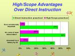 high scope advantages over direct instruction