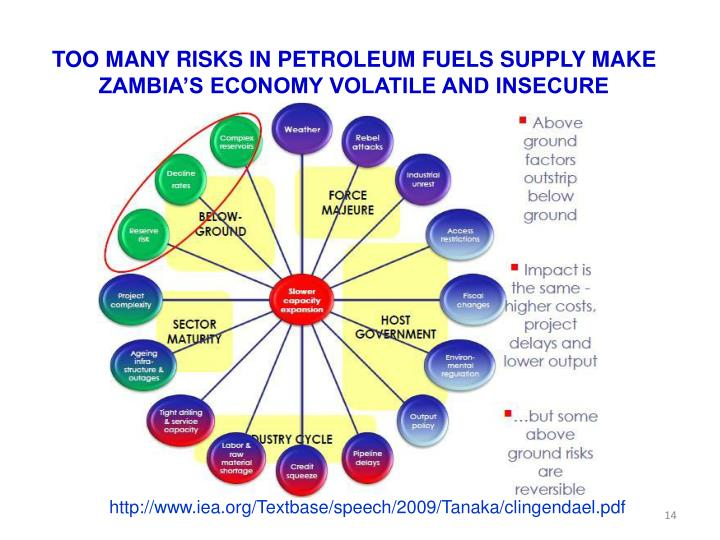 TOO MANY RISKS IN PETROLEUM FUELS SUPPLY MAKE ZAMBIA'S ECONOMY VOLATILE AND INSECURE