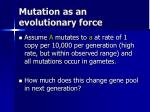 mutation as an evolutionary force1