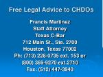 free legal advice to chdos