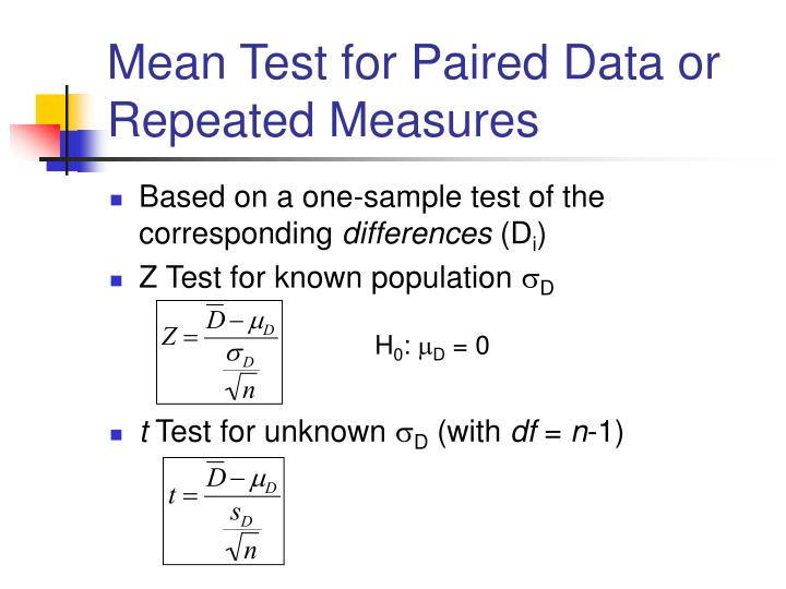 Mean Test for Paired Data or Repeated Measures