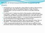 results of artemisia artemisinin research so far cont