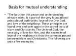 basis for mutual understanding