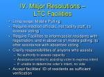iv major resolutions ltc facilities