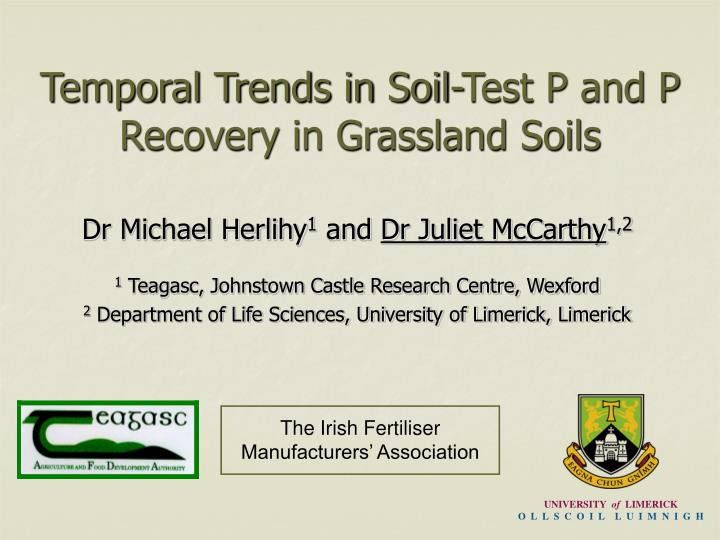 temporal trends in soil test p and p recovery in grassland soils n.