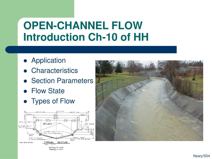 open channel flow introduction ch 10 of hh n.