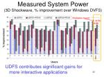 measured system power 3d shockwave improvement over windows dvfs