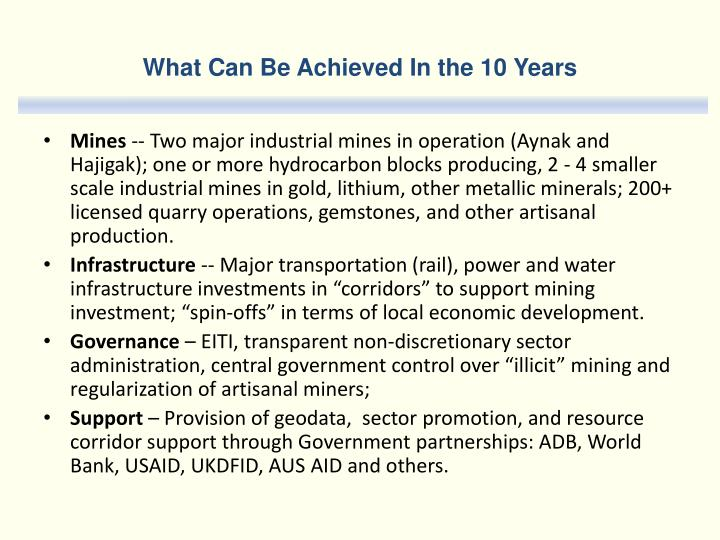 What Can Be Achieved In the 10 Years