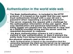 authentication in the world wide web