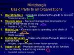 mintzberg s basic parts to all organizations1