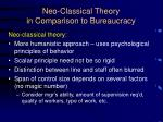 neo classical theory in comparison to bureaucracy