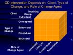 od intervention depends on client type of change and role of change agent