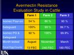 avermectin resistance evaluation study in cattle