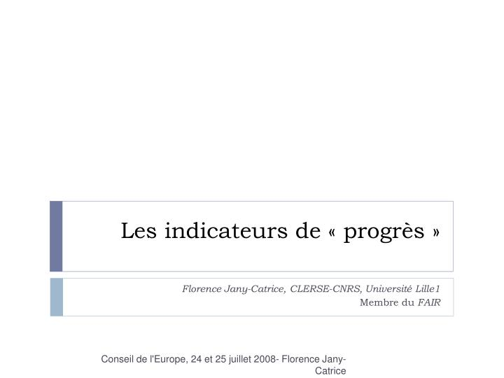 les indicateurs de progr s n.