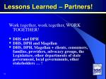 lessons learned partners