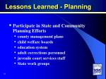 lessons learned planning
