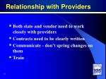 relationship with providers