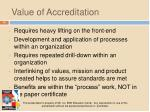 value of accreditation
