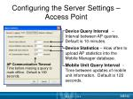 configuring the server settings access point