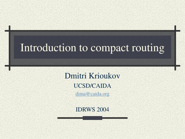 introduction to compact routing n.