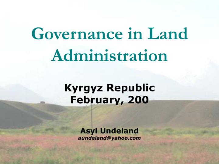 governance in land administration n.