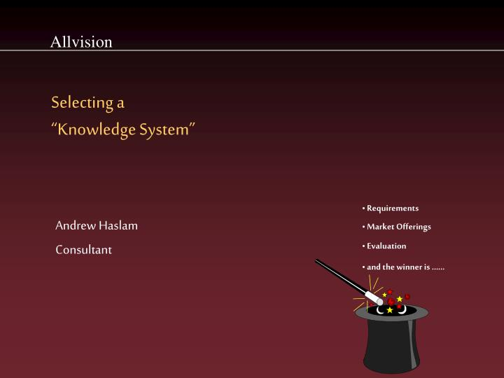 selecting a knowledge system n.