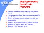 videoconference benefits for providers