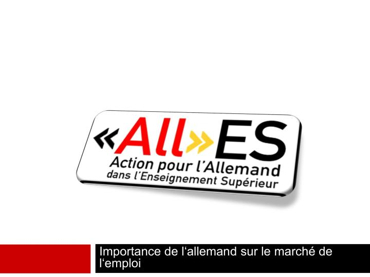 importance de l allemand sur le march de l emploi n.